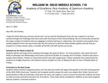 Letter to Parents – April 17