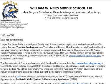 INFORMATION FROM MS 118 – MAY 15, 20202