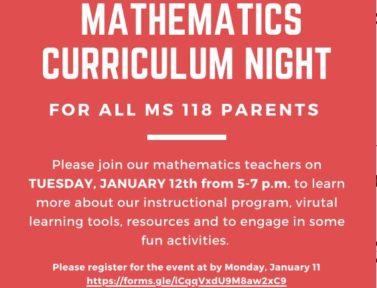 Math curriculum night 1.12.21